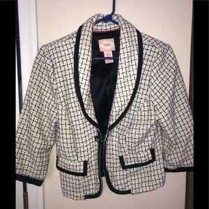 Candies B&W Tweed 3/4 Sleeve Blazer